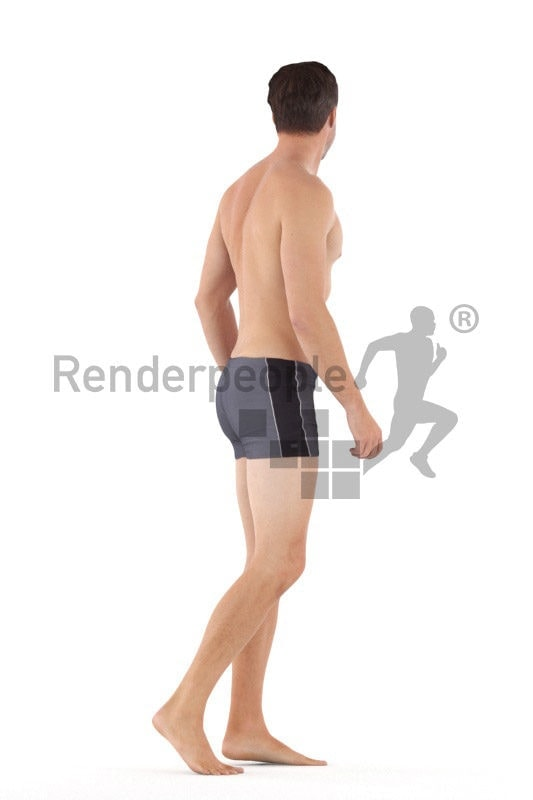 Scanned human 3D model by Renderpeople – european man in swimmshorts, walking and talking
