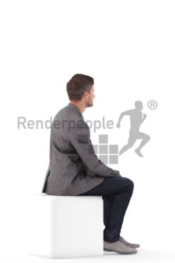 3D People model for 3ds Max and Blender – european man in a smart casual look, sitting