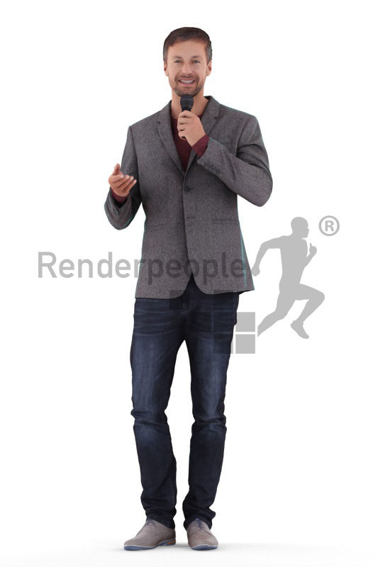Photorealistic 3D People model by Renderpeople – euroepan male in business suit, moderating, event