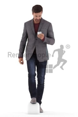 Scanned human 3D model by Renderpeople – eropean man in business suit, walking upstairs and looking on his phone screen