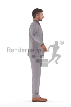 Rigged human 3D model by Renderpeople – european man in a business suit