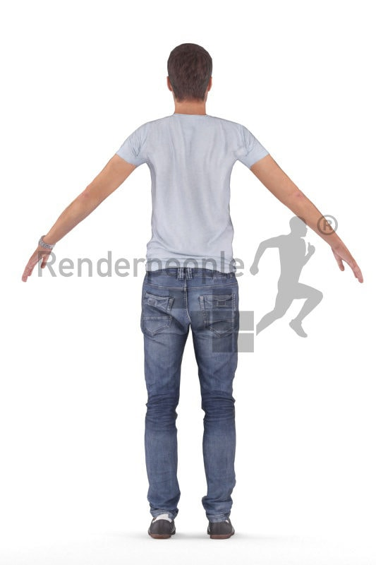 Rigged 3D People model by Renderpeople - european man in daily clothes