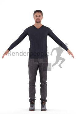 3d people casual, 3d white man rigged
