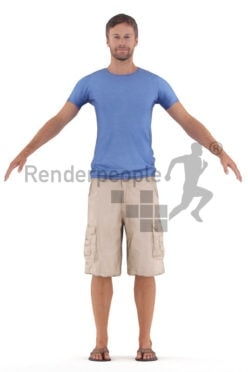 Rigged 3D People model for Maya and Cinema 4D – european man in free time clothes