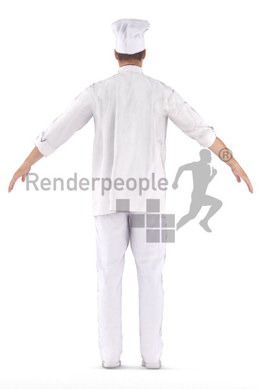 Rigged 3D People model for Maya and 3ds Max – white man, cook, gastronomy