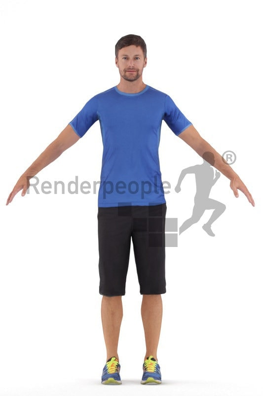 3d people sports, 3d white man rigged