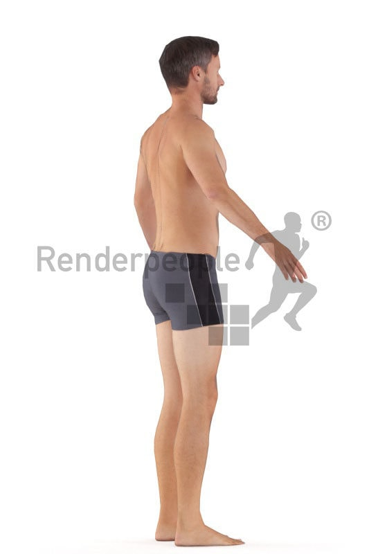 Rigged human 3D model by Renderpeople – european man in swimmshorts
