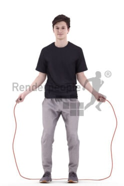 Photorealistic 3D People model by Renderpeople – european man in sports outfit and skipping rope