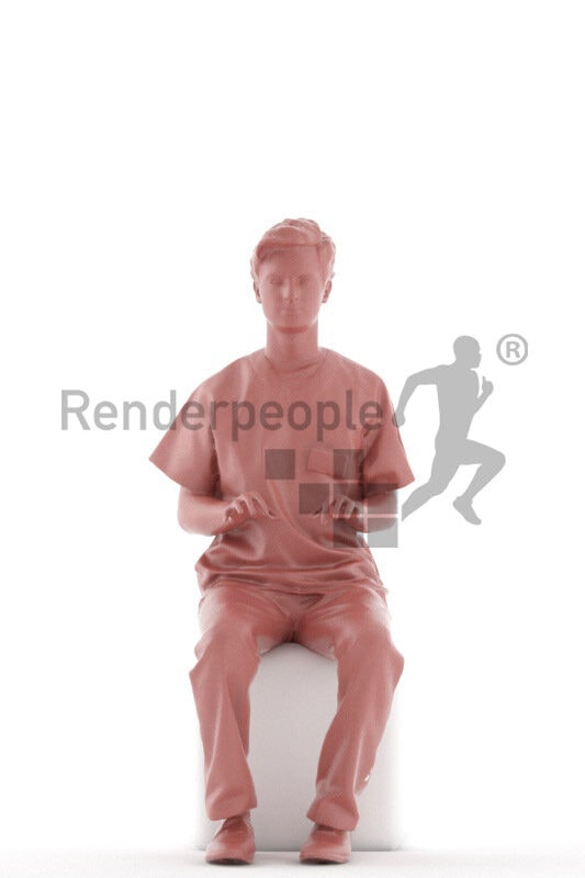 Photorealistic 3D People model by Renderpeople – european men in healthcare outfit, sitting and typing