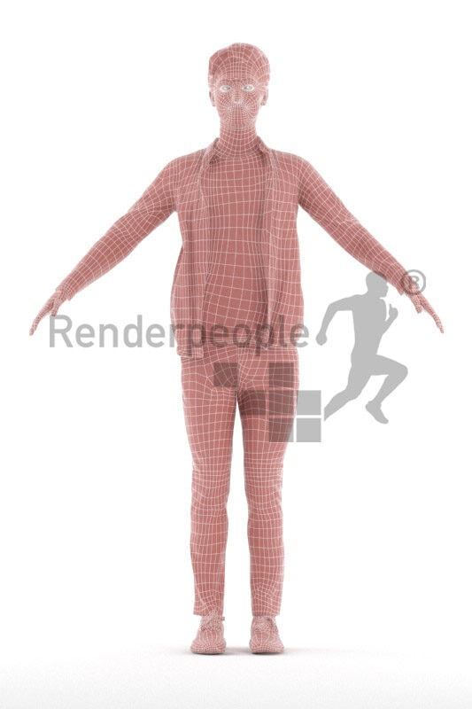 Rigged 3D People model for Maya and 3ds Max – european man in casual look