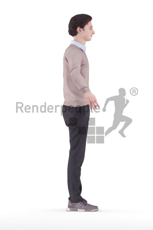 Rigged and retopologized 3D People model – european man in smart casual outfit