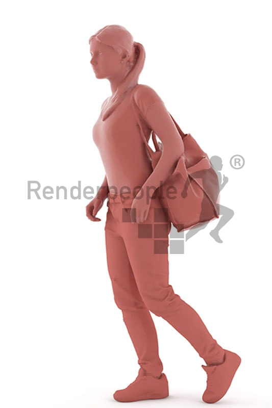 3d people shopping, white 3d woman on shopping tour
