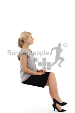 3d people business, white 3d woman sitting and grinning