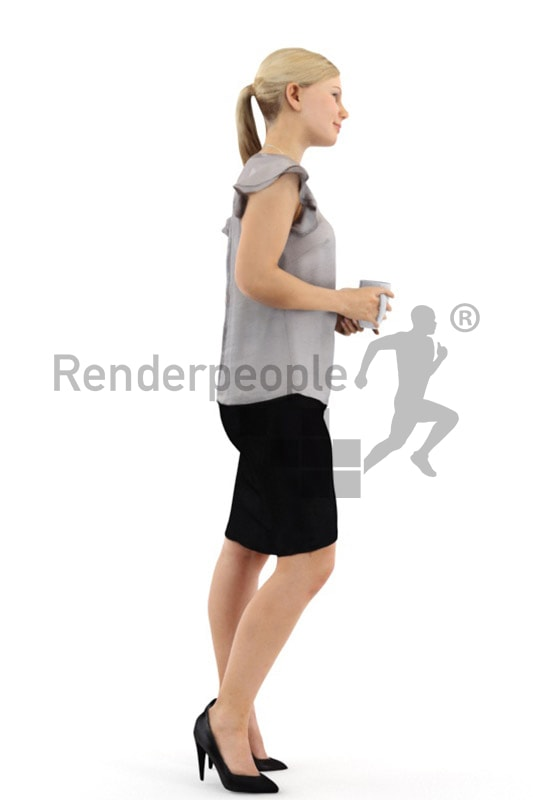 3d people business, white 3d woman holding a cup