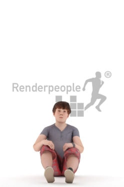 Animated human 3D model by Renderpeople – european teenager in casual summer look, sitting