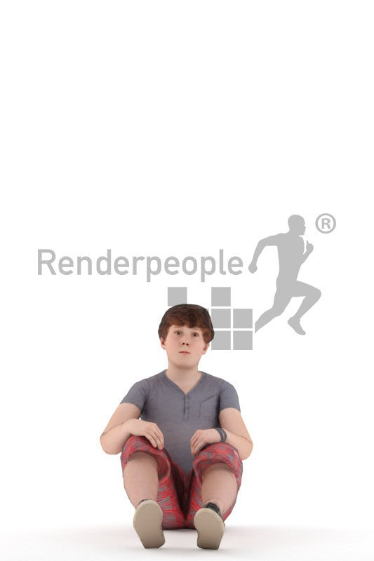 Animated human 3D model by Renderpeople – european teenager in casual summer look, sitting