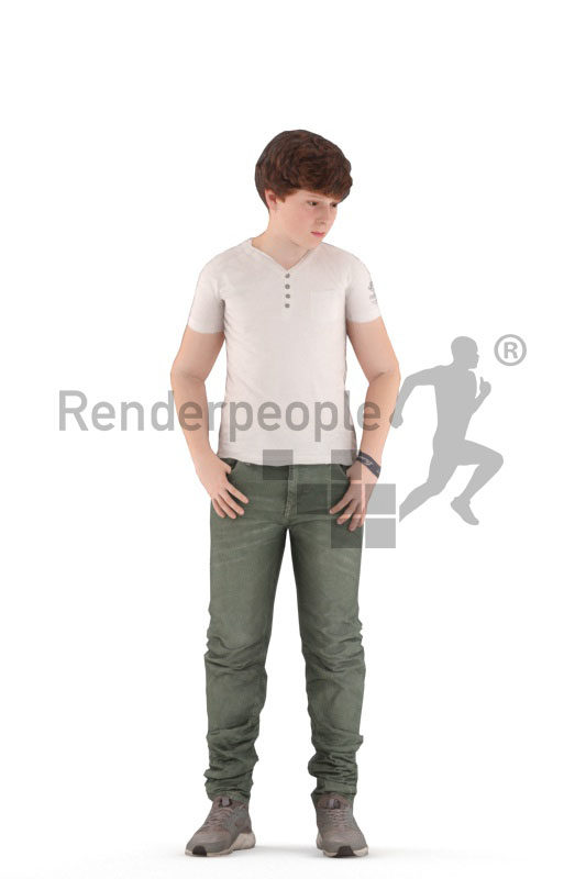 3D People model for animations – european boy/teenager in daily clothes, standing