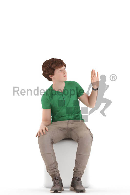 3d people kids, white 3d child sitting and waving