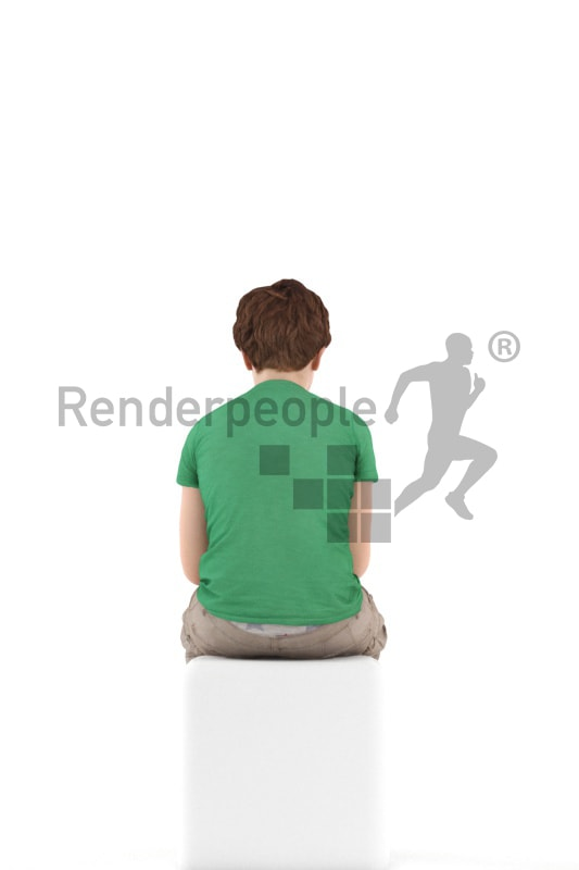 3d people kids, white 3d child sitting with his phone