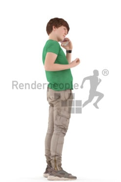 3d people kids, white 3d child standing and calling