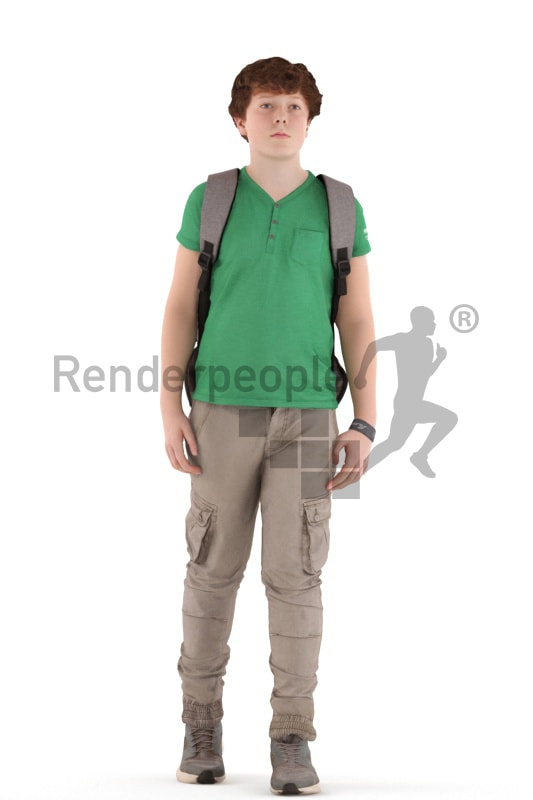 3d people kids, white 3d child walking with his schoolbag