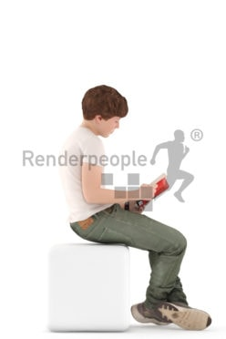 3d people kids, white 3d child sitting and reading