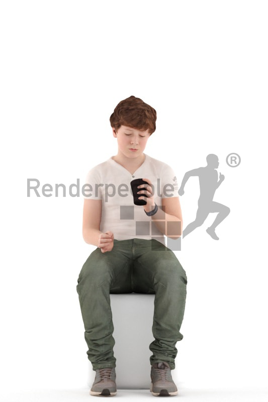 3d people kids, white 3d child sitting with a cup