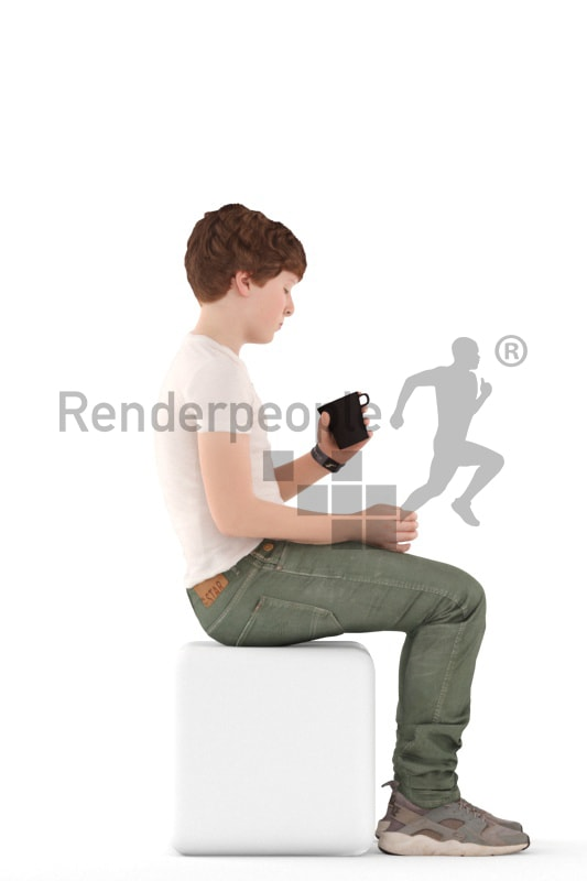 3d people kids, white 3d child sitting