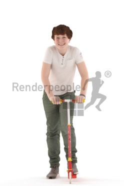 3d people kids, white 3d child standing on a kids scooter
