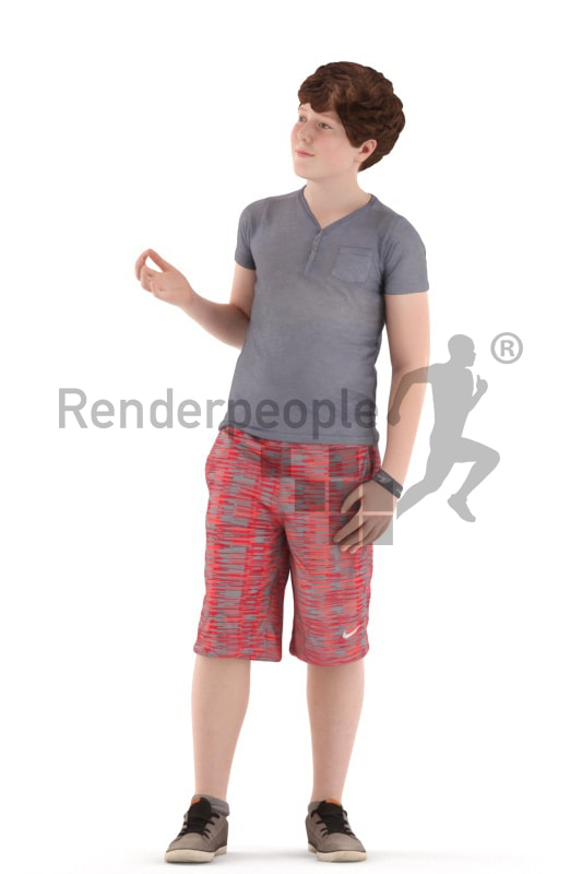 3d people kids, white 3d child standing and discussing