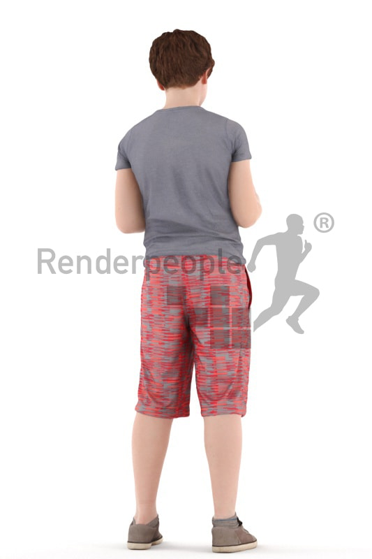 3d people kids, white 3d child standing and reading