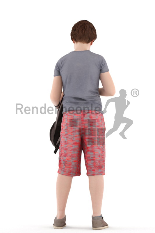 3d people kids, white 3d child standingand looking into his bag