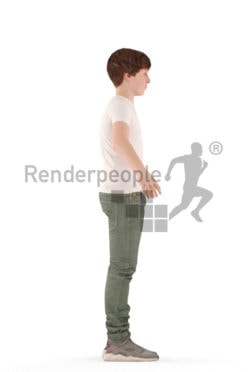 3d people casual, rigged teenager in A Pose