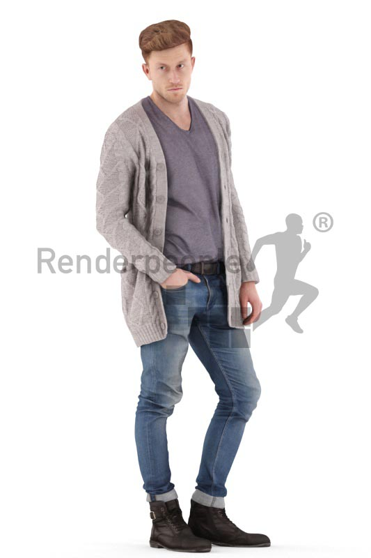 3d people casual, jung man standing