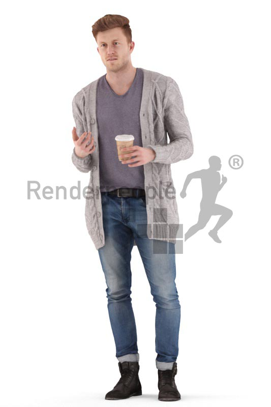 3d people casual, jung man walking, debating and drinking coffee