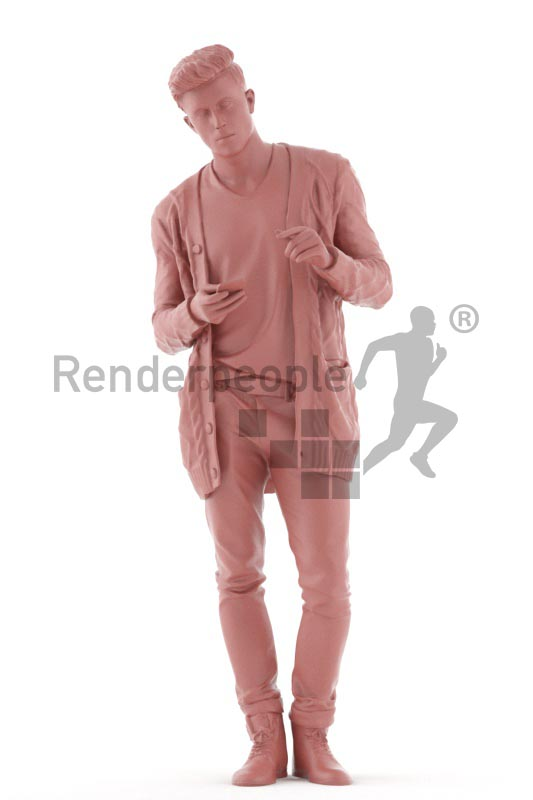 3d people casual, jung man standing checking his mobile phone