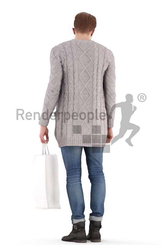 3d people casual, jung man walking with a shopping bag