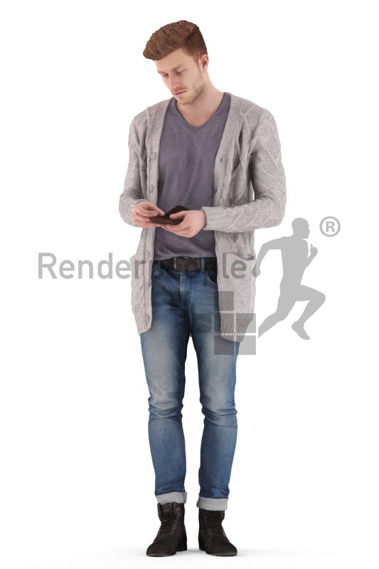 3d people casual, jung man standing and looking into his wallet