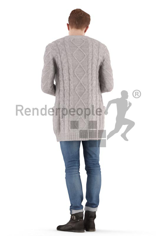 3d people casual, jung man standing, taking a shopping bag