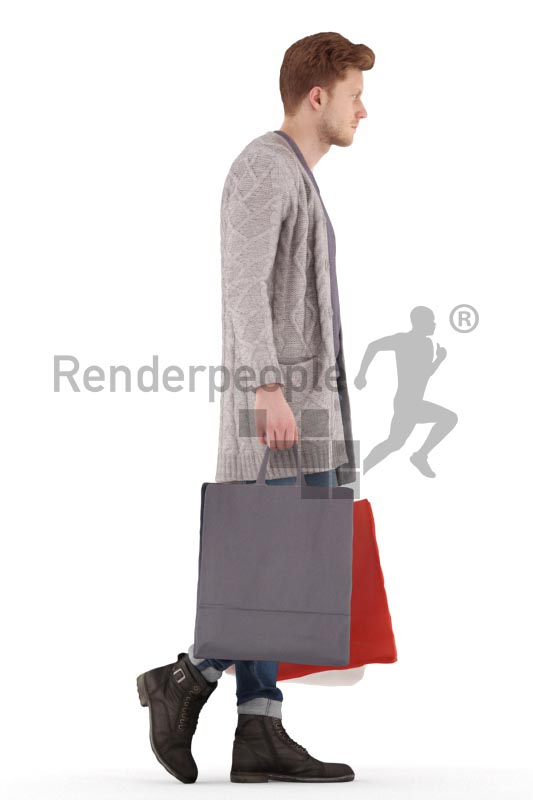 3d people casual, jung man walking with a multiple shopping bag