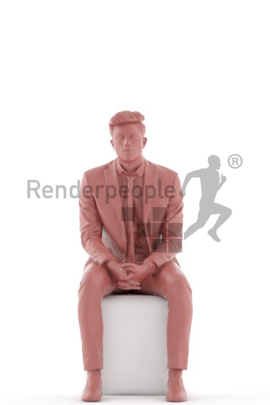 3d people business, jung man sitting and waiting