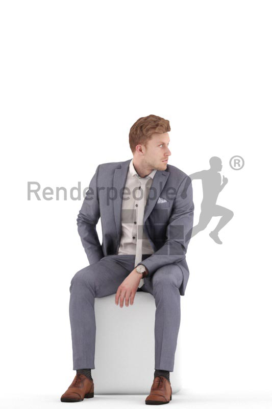 3d people business, jung man sitting, looking over his shoulder