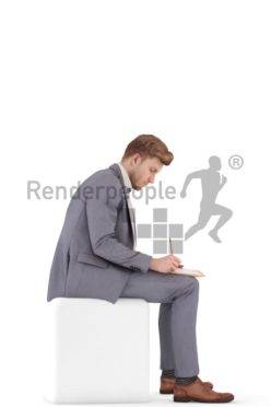 3d people business, jung man sitting and writing