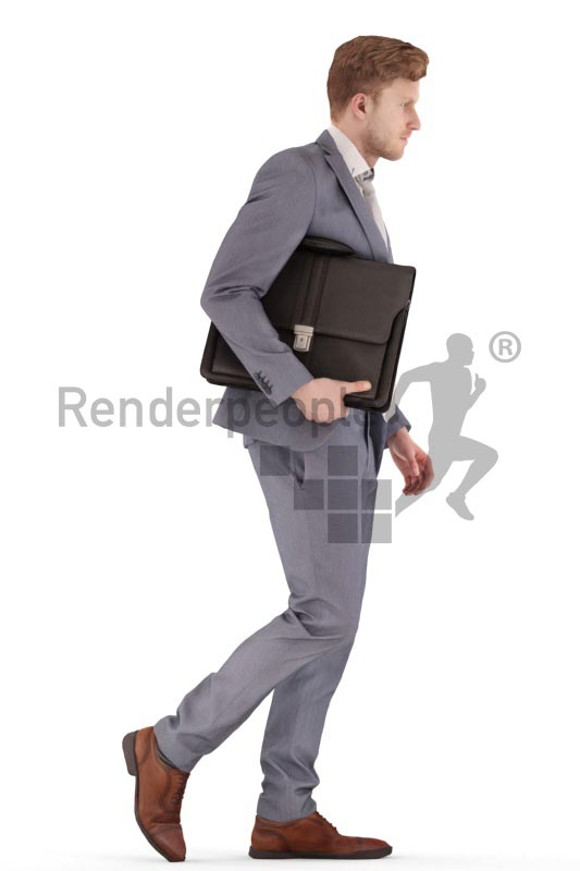 3d people business, jung man walking with a briefcase