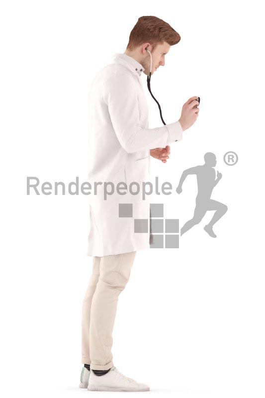 3d people doctor, jung doctor with a stethoskop