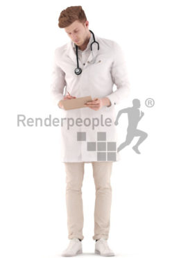 3d people doctor, jung doctor with a stethoskop and clipboard