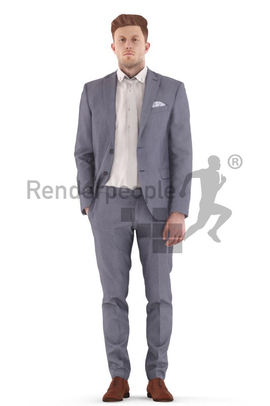 3d people business, jung man standing