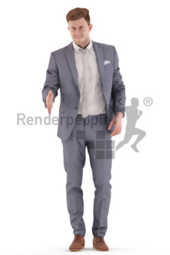 3d people business, jung man standing and shaking hands