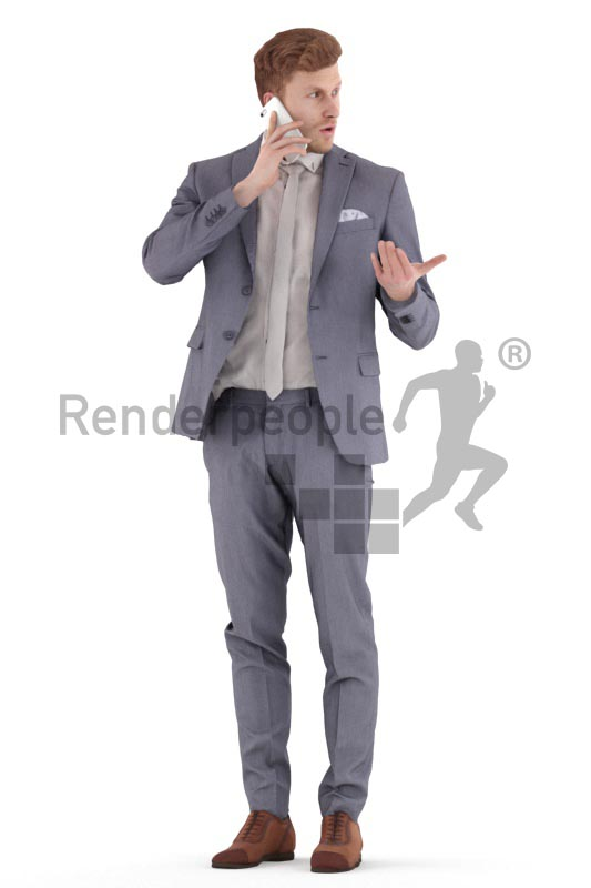 3d people business, young man standing and making a call
