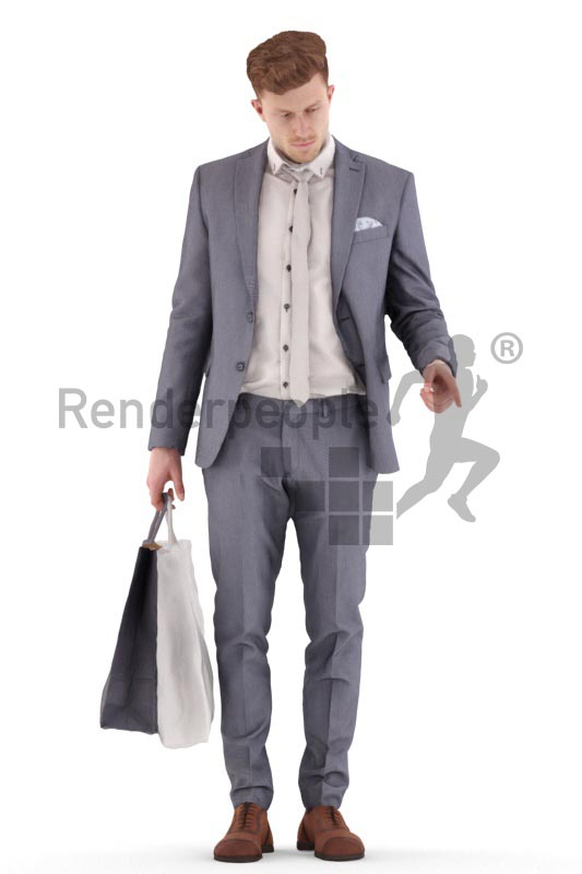 3d people business, young man standing, shopping and pointing